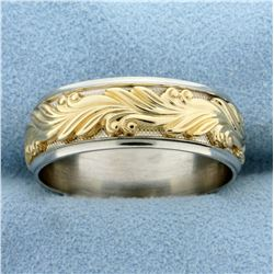 Ornate Design Band Ring in 14K Yellow and White Gold