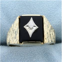 Men's Onyx and Diamond Ring in 10K Yellow and White Gold