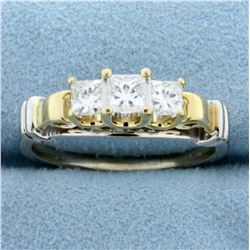 1ct TW Princess Three Diamond Anniversary Ring in 14K Yellow and White Gold