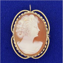 Vintage Cameo Pendant or Pin in 14K Yellow Gold