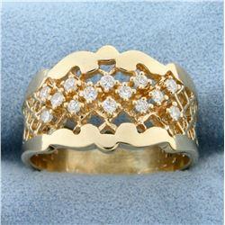 Unique Over 1/4ct TW Diamond Designer Ring in 14K Yellow Gold