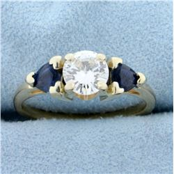 3 Stone Diamond and Sapphire Engagement Ring in 14K Yellow Gold