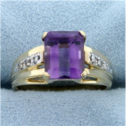 2.5ct Amethyst and Diamond Ring in 10K Yellow Gold