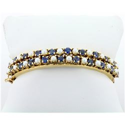 Vintage Sapphire and Cultured Pearl Hinged Bangle Bracelet in 14k Yellow Gold