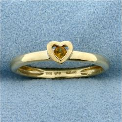 Heart Citrine Ring in 10K Yellow Gold