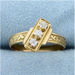 Antique 1/4ct TW Mine Cut Diamond 3-Stone Ring in 18K Yellow Gold