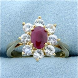 1ct Natural Ruby and White Sapphire Ring in 10K Yellow Gold