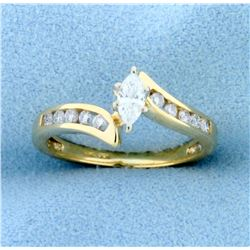 1/2ct TW Marquise and Round Diamond Bypass Ring in 14K Yellow Gold