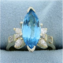 4ct Swiss Blue Topaz and Diamond Statement Ring in 14K Yellow Gold