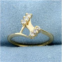 Six- Stone Diamond Bypass Ring in 14K Yellow Gold