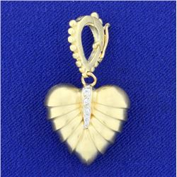 Vintage Solid Gold and Diamond Heart Pendant in 14K Yellow Gold