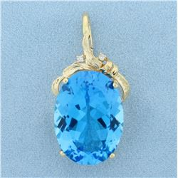 Very Large 40ct Swiss Blue Topaz and Diamond Pendant in 14K Yellow Gold