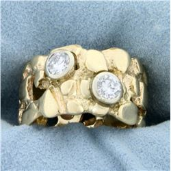 Wide Gold Nugget and 1/2ct TW Diamond Band Ring in 14K Yellow Gold