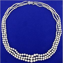 Vintage 20 Inch Three- Strand Graduated Freshwater Cultured Pearl Necklace in 14K White Gold