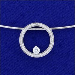 Movado Ono Designer Diamond Necklace in 18K White Gold