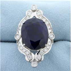 Over 20ct TW Natural Sapphire and Diamond Ring in 14k White Gold