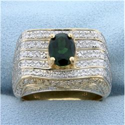 2ct TW Green Chrome Tourmaline and Diamond Ring in 14K Yellow Gold