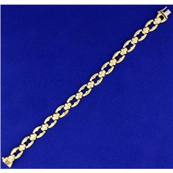 Italian Made 7 1/4 Inch Designer Link Bracelet in 14K Yellow Gold
