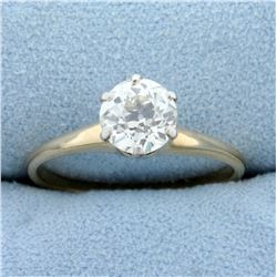 Antique Over 1ct Old European Solitaire Diamond Engagement Ring in 14K Yellow Gold