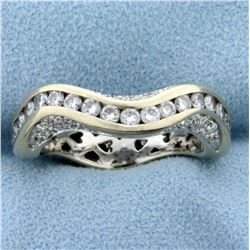 Custom Designed 1 1/2ct TW Diamond Wave Design Band Ring in 18K White Gold