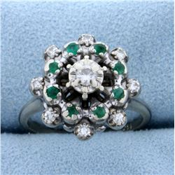 Diamond and Natural Emerald Starburst Ring in 14K White Gold