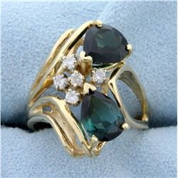 Chrome Tourmaline and Diamond Ring in 14K Yellow Gold