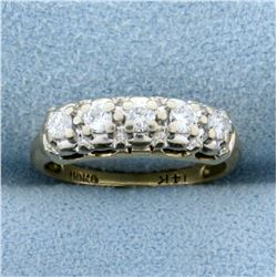 1/4ct TW Vintage Five-Stone Diamond Ring in 14K Yellow and White Gold