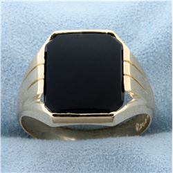 Men's Onyx Ring in 10K Yellow Gold