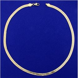 16 1/2 Inch Italian Made Herringbone Neck Chain in 14K Yellow Gold