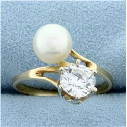 Antique 1ct Old European Cut Diamond and Akoya Pearl Ring in 14K Yellow Gold