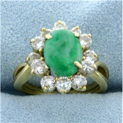 Jade and Diamond Ring in 18K Yellow Gold