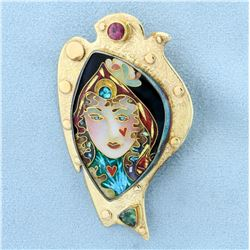 Signed Peter & Alexa Smarsh Enamelights Enamel Cloisonné Brooch Pin Slide Pendant in 14K and 22K Yel