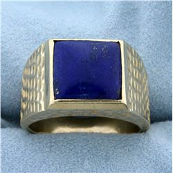 5ct Natural Lapis Lazuli Ring in 14K Yellow Gold