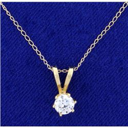 1/3ct Diamond Pendant With Chain in 14K Yellow Gold