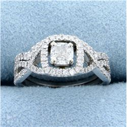 1ct TW Halo Style Cushion Cut Diamond Engagement Ring in 14K White Gold