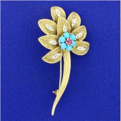 Vintage Turquoise, Ruby, and Diamond Flower Pin in 18K Yellow and White Gold