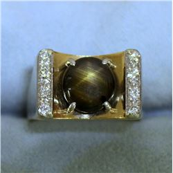 Natural Black Star Sapphire and Diamond Ring in 14K Yellow Gold