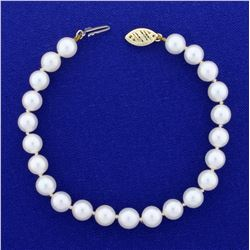 7 Inch Cultured Akoya Pearl Bracelet With 14K Yellow Gold Clasp
