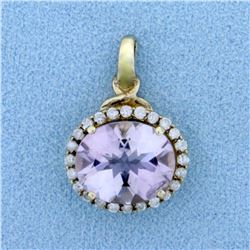 Amethyst and Diamond Pendant in 10K Yellow Gold