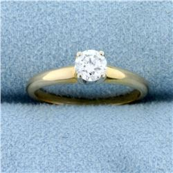 1/3ct Solitaire Diamond Engagement Ring in 14K Yellow and White Gold