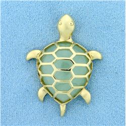 Natural Jade Sea Turtle Pendant in 10K Yellow Gold