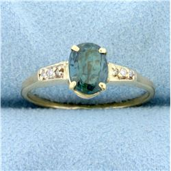 1.5ct Natural Alexandrite and Diamond Ring in 14K Yellow Gold