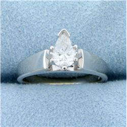 .8ct Pear Shaped Diamond Solitaire Engagement Ring in 14K White Gold