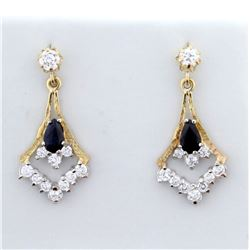 Vintage Blue and White Sapphire Dangle Earrings in 9K Yellow and White Gold
