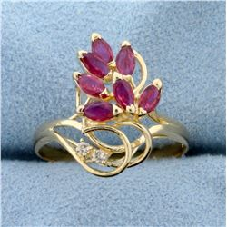 3/4ct TW Ruby and Diamond Ring in 14K Yellow Gold