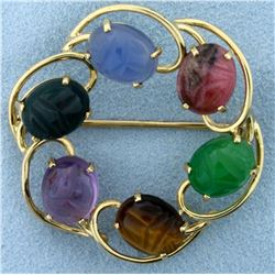 Vintage Scarab Circle Pin in 14K Yellow Gold