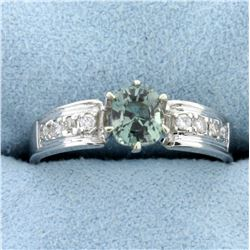 1/2ct Natural Alexandrite and Diamond Ring in 14K White Gold
