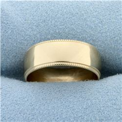 Wide 6.6mm Beaded Edge Wedding Band Ring in 14K Yellow Gold