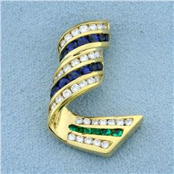 Charles Krypell Designer Diamond, Sapphire, and Emerald Slide Pendant in 18k Yellow Gold