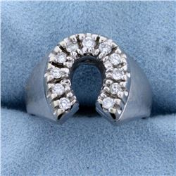 1/2ct Tw Diamond Horseshoe Ring in 14K White Gold